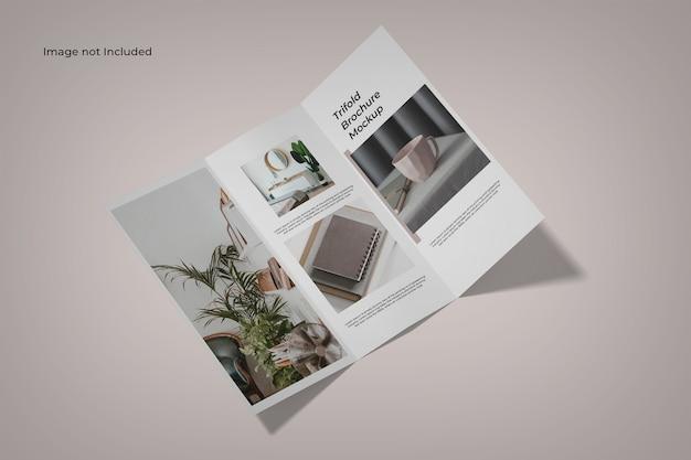 Maquette De Brochure Ouverte à Trois Volets Vue Grand Angle PSD Premium