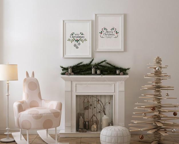 Maquette De Cadre D'affiche Avec Arbre De Noël En Bois, Décoration Et Cadeaux PSD Premium