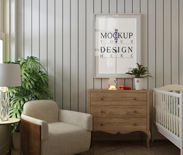 Maquette De Cadre D'affiche Dans La Chambre De Bébé Moderne PSD Premium