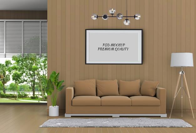 Maquette cadre affiche dans le salon intérieur et un canapé, rendu 3d PSD Premium