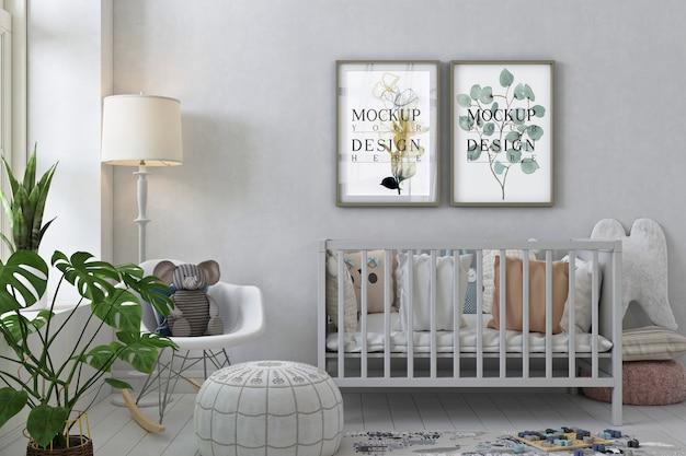 Maquette De Cadre D'affiche à L'intérieur De La Chambre D'enfant PSD Premium