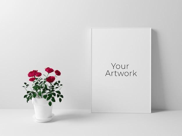 Maquette De Cadre D'affiche Avec Des Roses PSD Premium