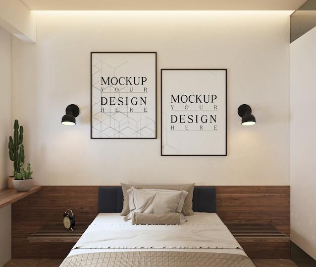 Maquette De Cadre D'affiches Dans Une Chambre Contemporaine Moderne PSD Premium