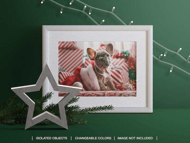 Maquette De Cadre De Carte Photo De Vacances Avec Décoration De Branches Et Lumières De Noël PSD Premium
