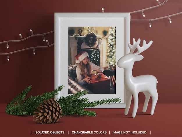 Maquette De Cadre De Carte Photo De Voeux De Vacances Avec Créateur De Scène De Décoration De Noël PSD Premium