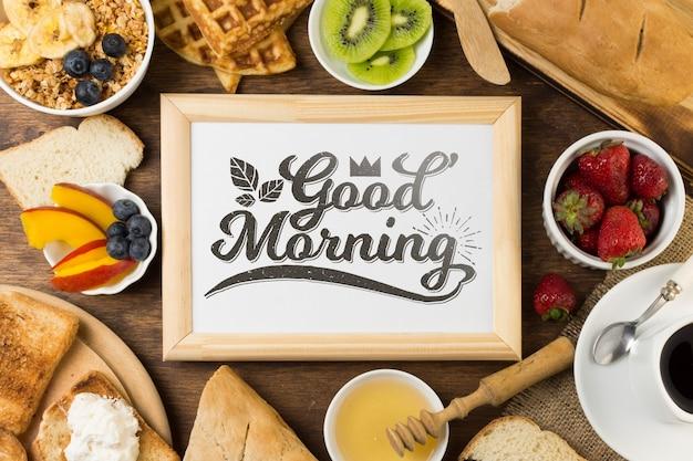 Maquette de cadre avec concept de petit-déjeuner Psd gratuit