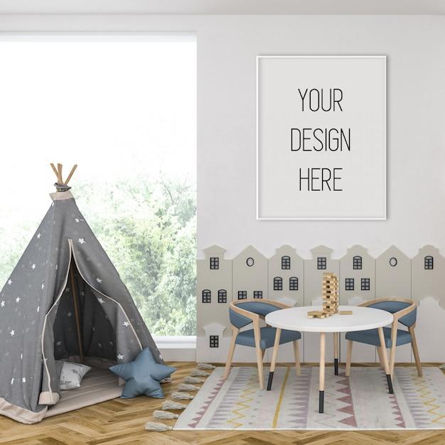Maquette De Cadre Dans La Chambre D'enfant Avec Cadre Vertical Blanc PSD Premium