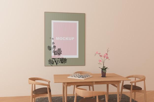 Maquette de cadre dans le salon Psd gratuit