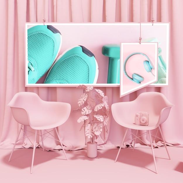 Maquette de cadre dans un style pop rose Psd gratuit