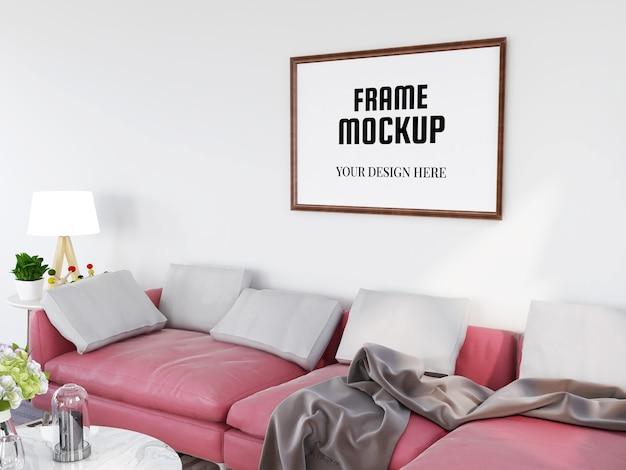 Maquette De Cadre Photo Réaliste Dans Le Salon Moderne PSD Premium
