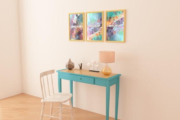 Maquette de cadres au dessus de la petite table Psd gratuit