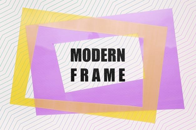 Maquette De Cadres Modernes Violet Et Jaune Psd gratuit