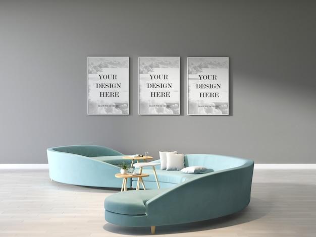 Maquette De Cadres Triples Sur Mur Gris Avec Canapé Cercle Vert Moderne Dans La Salle D'attente PSD Premium