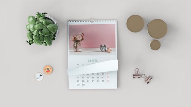 Maquette de calendrier plat décoratif Psd gratuit