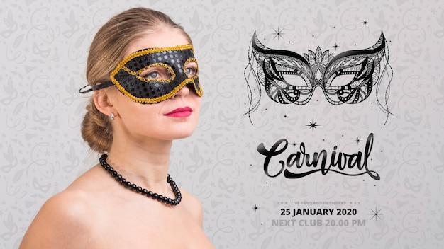 Maquette De Carnaval Avec Une Image De Femme Psd gratuit