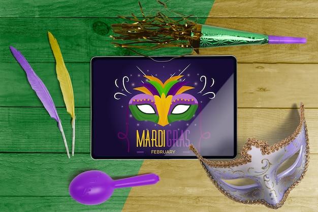 Maquette de carnaval vue de dessus avec des objets modifiables Psd gratuit