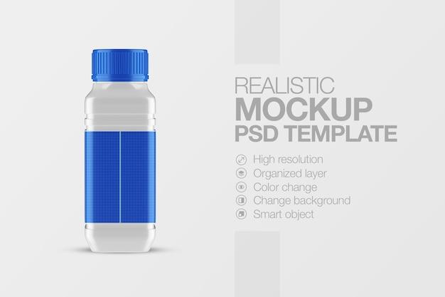Maquette Carrée De Bouteille En Plastique Réaliste PSD Premium
