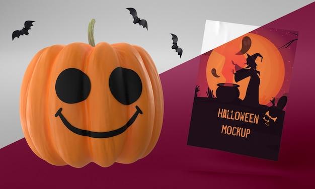Maquette De Carte Halloween Avec Citrouille Smiley Psd gratuit