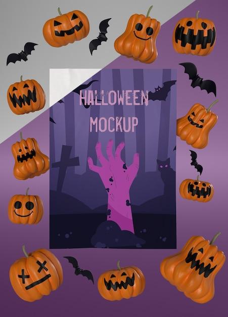Maquette De Carte D'halloween Avec Des Citrouilles Effrayantes Psd gratuit