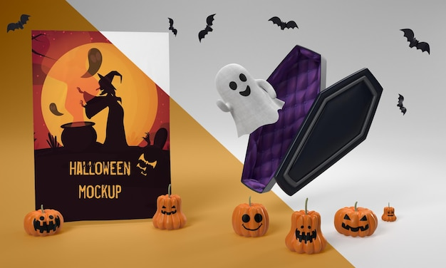 Maquette De Carte D'halloween Avec Fantôme Effrayant Psd gratuit