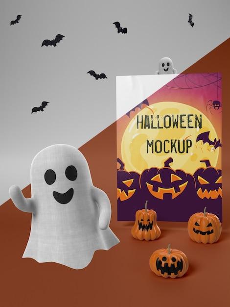 Maquette De Carte D'halloween Avec Fantôme Souriant Psd gratuit