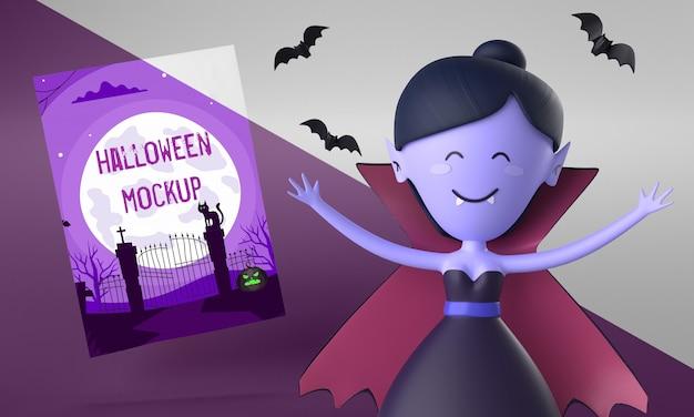 Maquette De Carte Halloween Avec Vampire Femme Smiley Psd gratuit