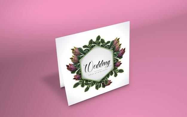 Maquette de carte minimaliste avec branche de cerisier PSD Premium