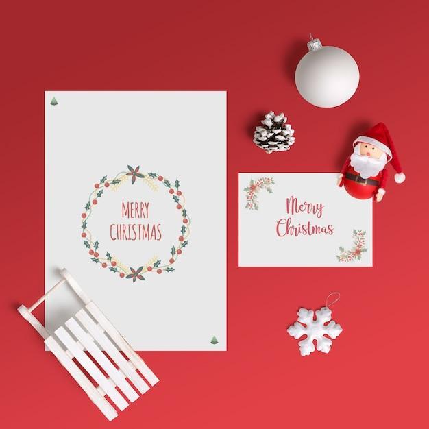 Maquette De Carte De Noël élégante Psd gratuit