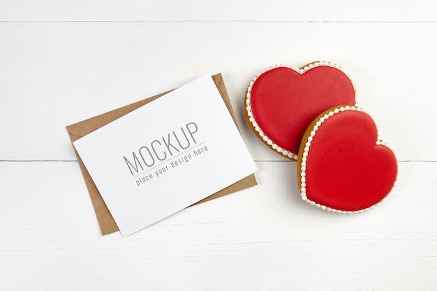 Maquette De Carte De Saint Valentin Avec Biscuits Coeurs Doux PSD Premium