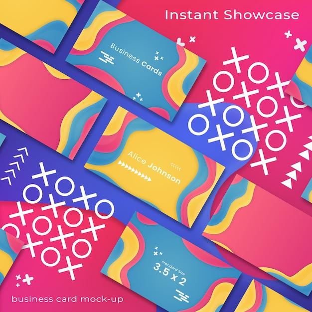 Maquette de carte de visite abstraite et colorée sur fond coloré PSD Premium