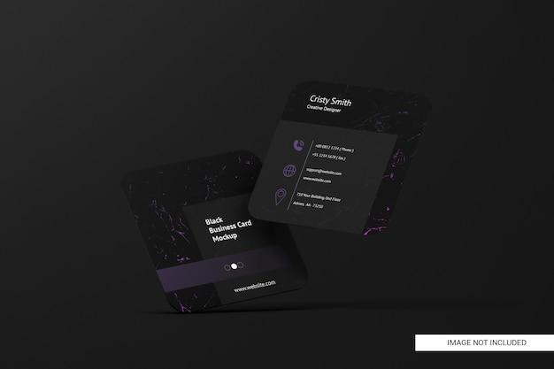 Maquette De Carte De Visite Carrée Arrondie Noire PSD Premium
