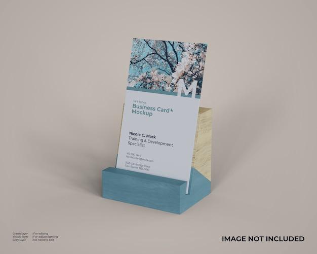 Maquette De Carte De Visite Verticale Avec Support En Bois PSD Premium