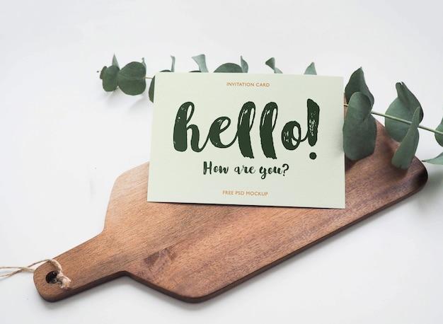 Maquette De Carte De Voeux Sur Planche De Bois PSD Premium