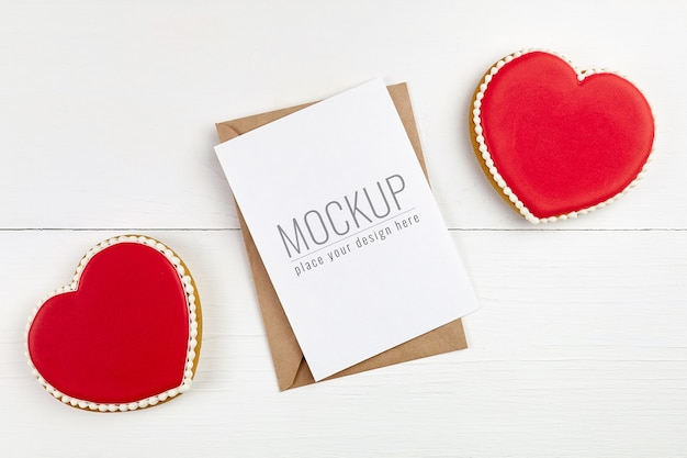 Maquette De Carte De Voeux Saint Valentin Avec Biscuits Coeurs Doux PSD Premium