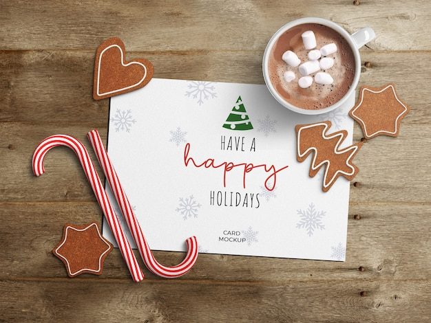 Maquette De Carte De Voeux De Vacances Avec Décoration De Noël PSD Premium