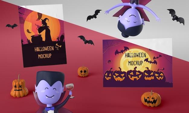 Maquette De Cartes D'halloween Avec Des Vampires Effrayants Psd gratuit