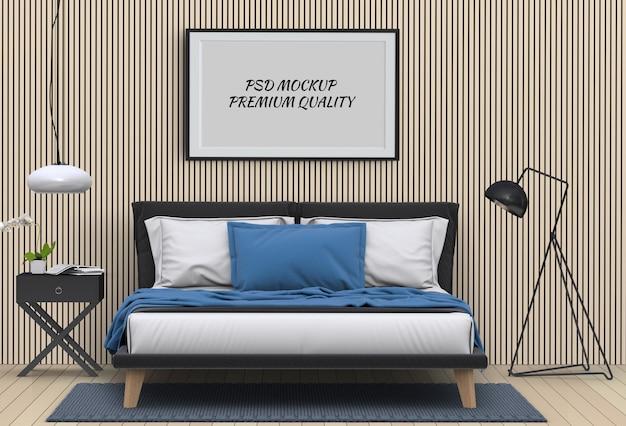 Maquette chambre vide affiche intérieur. rendu 3d PSD Premium
