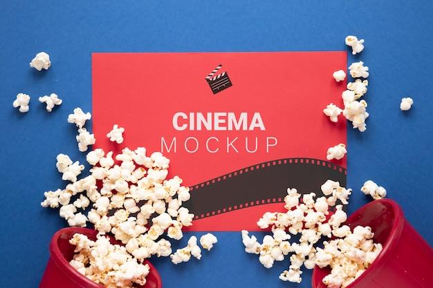 Maquette De Cinéma Vue De Dessus Avec Pop-corn Psd gratuit