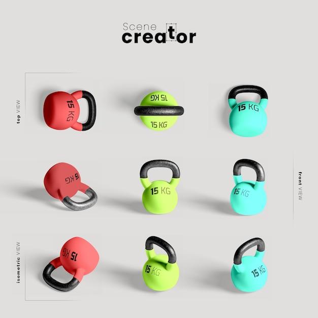 Maquette colorée de kettlebells Psd gratuit