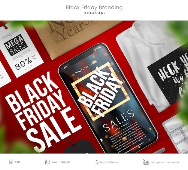 Maquette Complète De Marque Black Friday Avec Téléphone Intelligent Et Tshirt PSD Premium