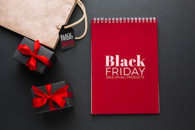 Maquette De Concept Vendredi Noir Avec Fond Noir Psd gratuit