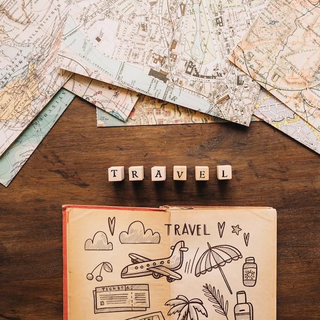Maquette De Concept De Voyage Rétro Avec Journal Psd gratuit