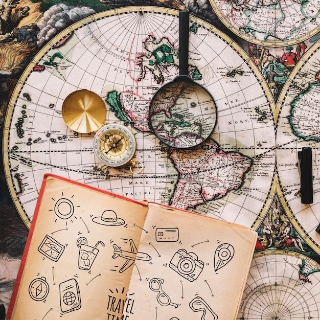 Maquette De Concept De Voyage Vintage Avec Journal Psd gratuit