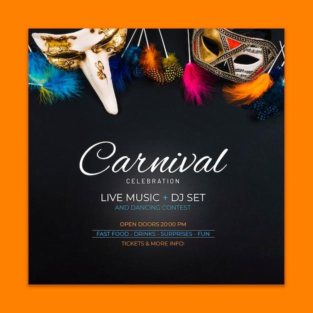 Maquette de couverture de carnaval Psd gratuit