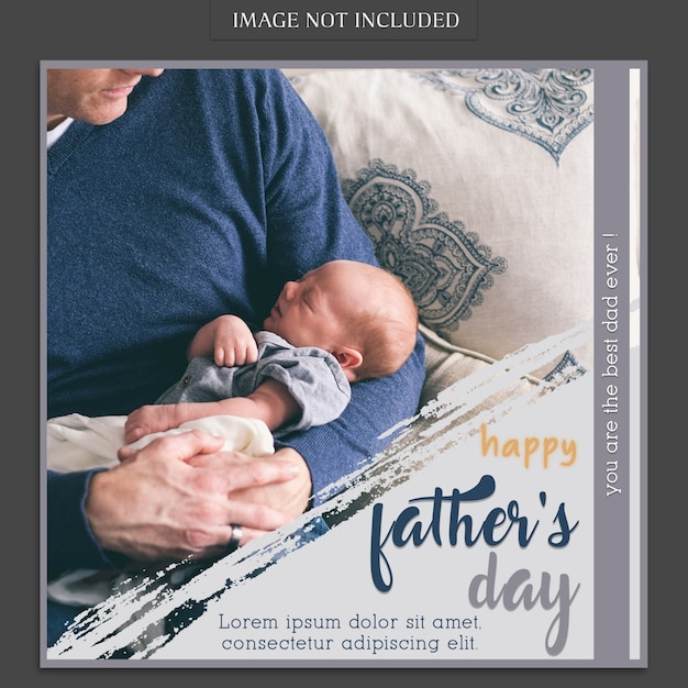 Maquette de couverture de fête des pères avec bébé PSD Premium
