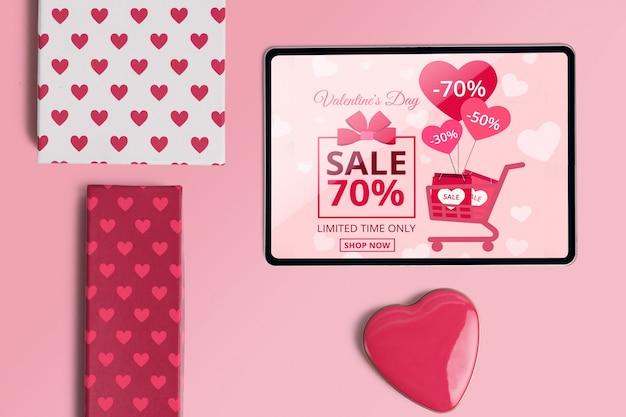 Maquette de créateur de scène modifiable avec le concept de la saint-valentin Psd gratuit