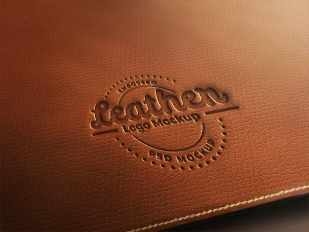 Maquette en cuir avec logo PSD Premium