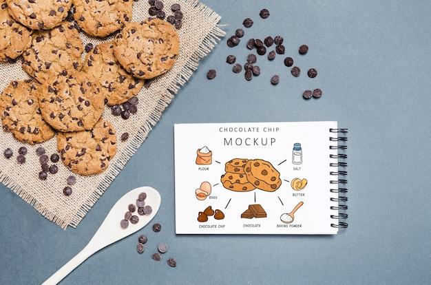 Maquette De Délicieux Biscuits Au Chocolat Psd gratuit
