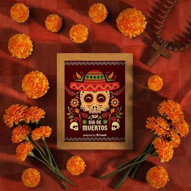 Maquette Dia De Muertos Entourée De Fleurs Psd gratuit