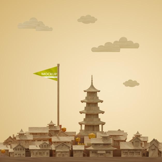 Maquette Du Modèle Miniature 3d De La Journée Mondiale Des Villes Psd gratuit